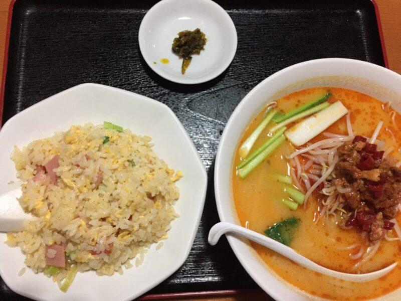 岡山若葉町『台湾料理四季紅』担々麺とチャーハンのお得なディナーセット!