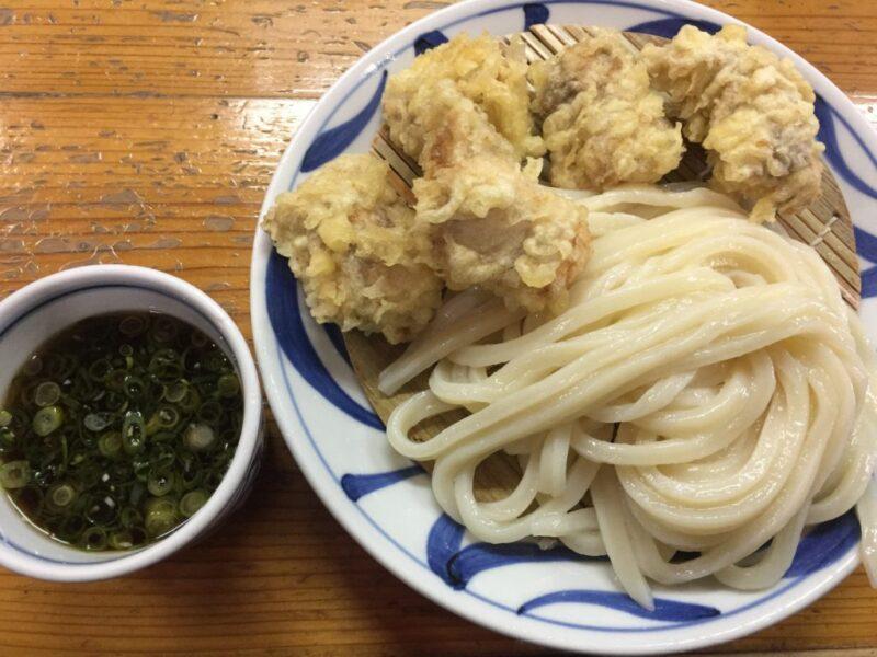 香川高松讃岐うどん『はりや』世界一美味い鶏天が乗ったかしわざるうどん!
