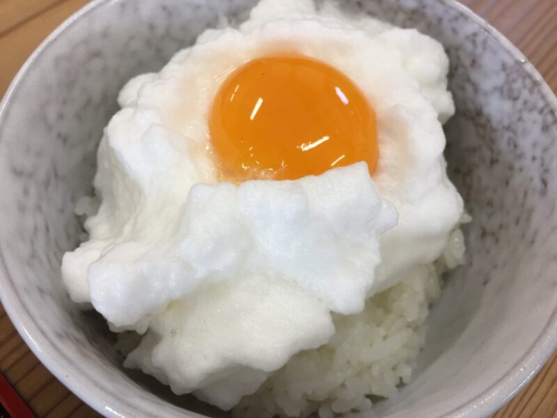 岡山総社『びれっじみーる総社』白身がふわふわメレンゲ卵かけご飯ランチ!