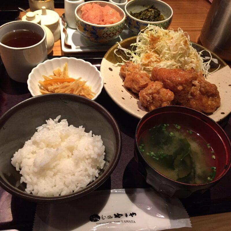 神戸三宮駅『博多もつ鍋やまや』辛子明太子と辛子高菜食べ放題定食ランチ!