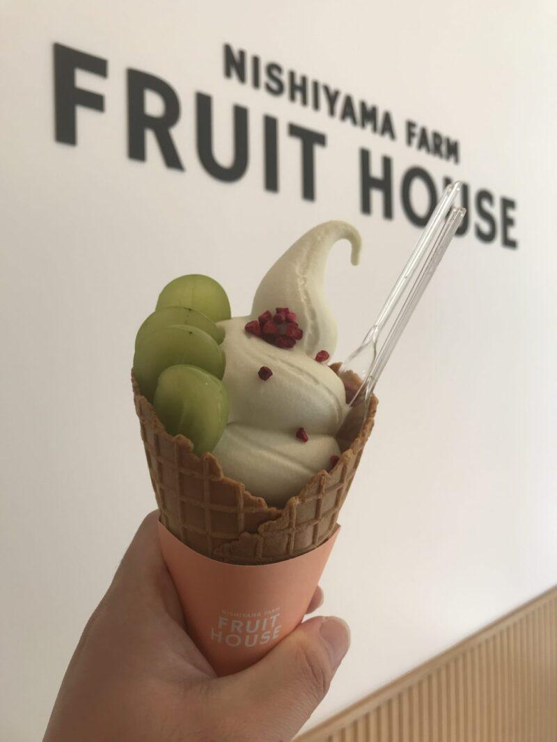 岡山問屋町テラス『西山ファーム』シャインマスカットソフトクリーム!