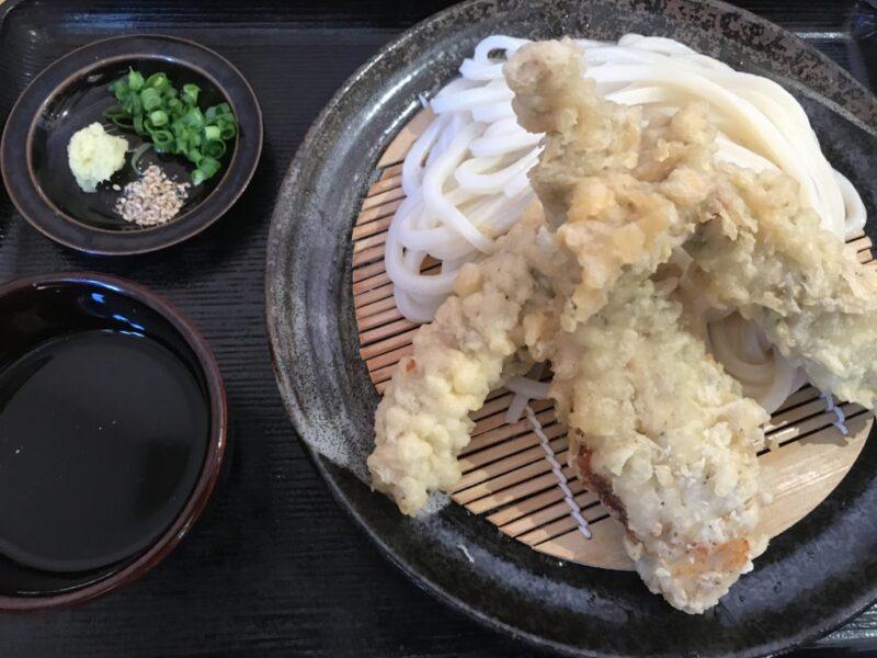 香川高松『情熱うどんわらく』とり天がデカ過ぎるかしわざるうどん!