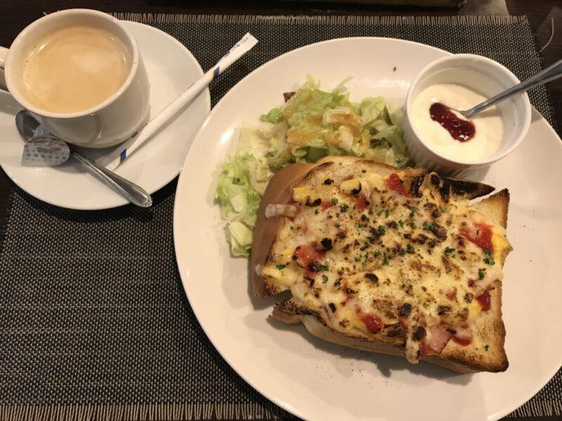 倉敷新田『洋食カフェもみじ堂』厚切りピザトーストの朝食モーニング!
