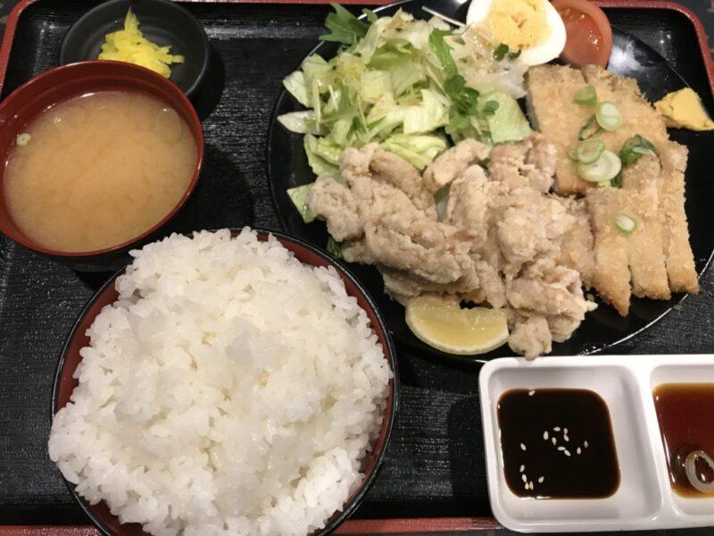 岡山津島『レッツ悟飯』ごはんデカ盛りのトンカツ&鶏のから揚げ定食!