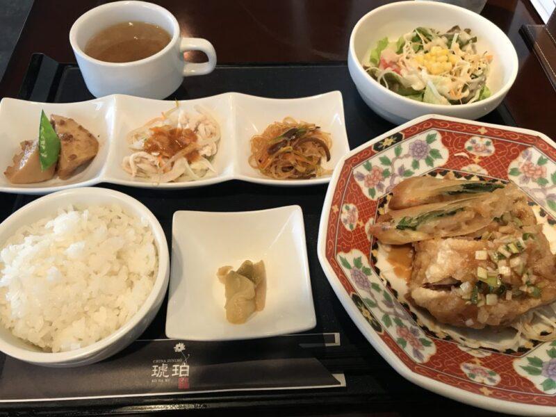 倉敷沖新町の中華料理『琥珀』本場のユーリンチーランチと冷やし担々麺!