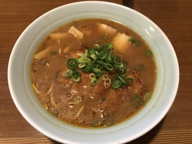 岡山東川原『中華そば一仙』両方食べたくてラーメンにトンカツ入れる!