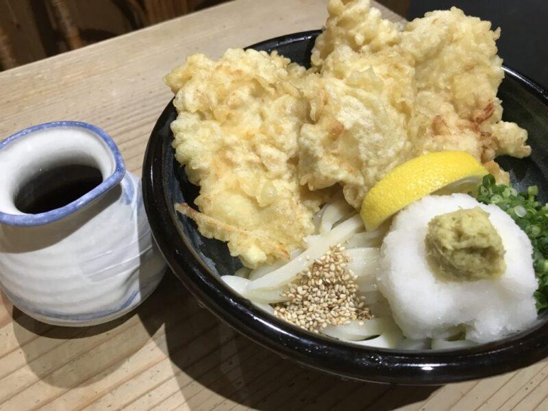 香川高松『麺むすび』揚げたてとり天ぶっかけうどんとカレーうどん!