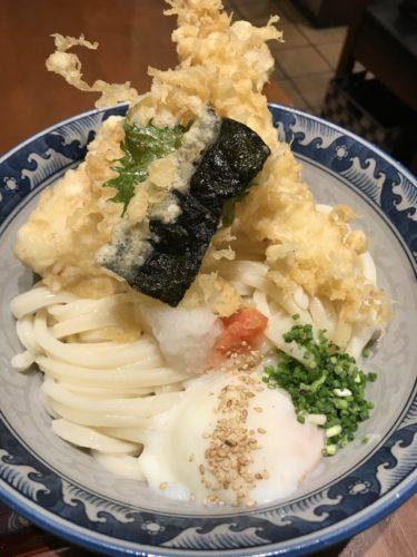 大阪梅田『うどん棒大阪本店』オリーブ豚のつけ麺と温玉天ぷらぶっかけ!