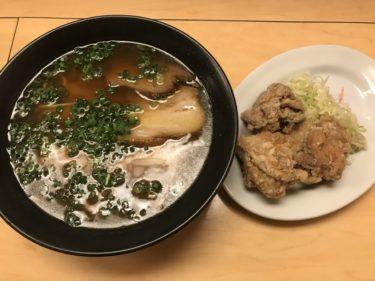 岡山高柳『支那そば餐休本店』醤油ラーメンと鶏の唐揚げ白ご飯セット!
