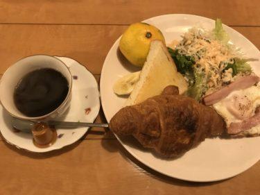 岡山野田『喫茶チタ』クロワッサンとベーコンエッグの400円モーニング!