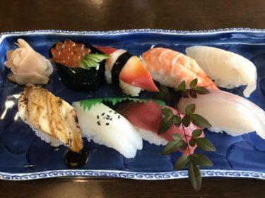 倉敷美和『寿司勝』回転しない豪華な上にぎり寿司と海老2本の天丼ランチ!