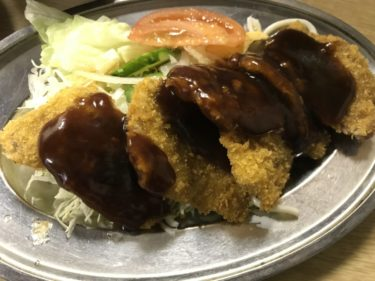 岡山富田町『グリルスエヒロ』老舗洋食屋で牛カツランチと素麺の味噌汁!