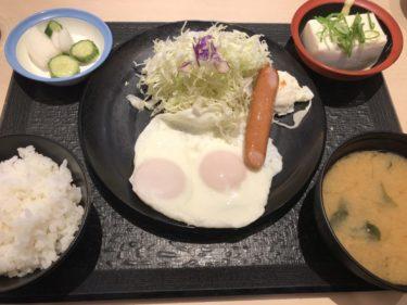 岡山厚生町『とんかつ松のや』朝は目玉焼きソーセージ朝食でご飯おかわり!