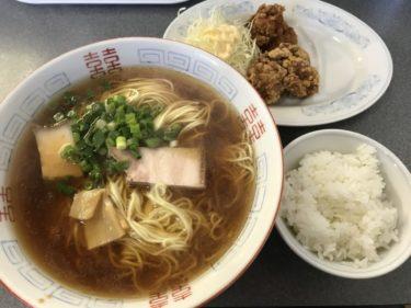 岡山今『ラーメン一喜』鶏の唐揚げと大盛りラーメンライス定食ランチ!