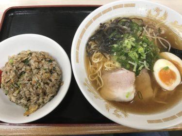 岡山高屋『とん亭』自家製麺に飛魚出汁醤油ラーメンとチャーハンセット!