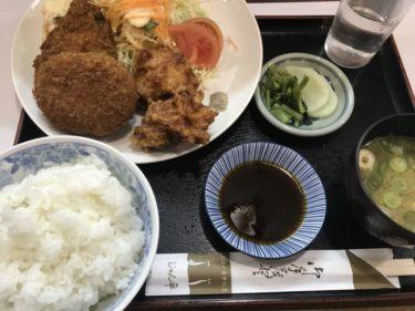 岡山県庁そば『じゅん平』から揚げとコロッケのミックスフライ定食ランチ!
