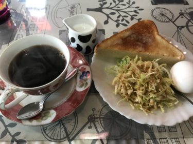 岡山中井『軽食喫茶美津』トーストとコーヒーと卵の朝食モーニングセット!
