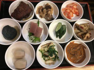 岡山幸町『大衆居酒屋鳥かね』10種類のおばんざいとすき焼き定食ランチ!