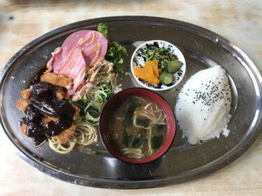 倉敷玉島『西之家食堂』トンカツとハムサラダのサービスランチ500円!